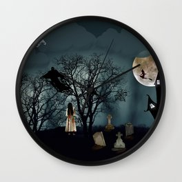 Haunted Forest Halloween Background Wall Clock