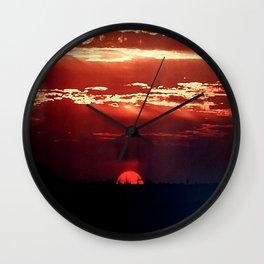 Burning Southern Setting Sun Wall Clock