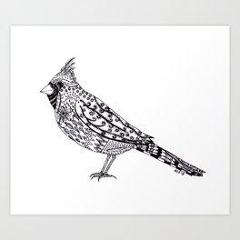 Cardinal Zentangle Art Print