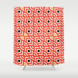 Round Pegs Square Pegs Red-Orange Shower Curtain