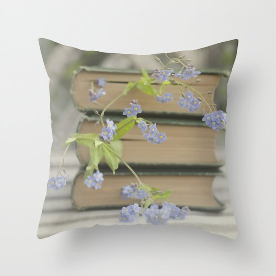 Forget Me Not Bookmark Throw Pillow