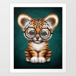 Cute Baby Tiger Cub Wearing Eye Glasses on Teal Blue Art Print
