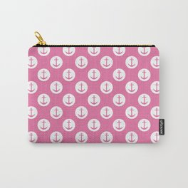 Pink Nautical Polka Dot - Pink Anchor Carry-All Pouch