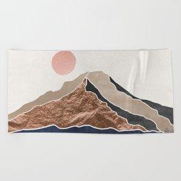 Mount Hood // Daylight Art Print Oregon Stratovolcano Rose Gold Silver Blue Cream Black Mountain Beach Towel