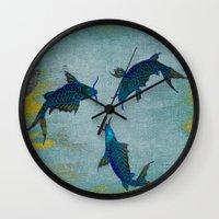 koi Wall Clocks featuring Koi  by Saundra Myles