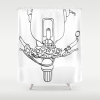 motorbike Shower Curtains featuring Motorbike by Jessica Slater Design & Illustration
