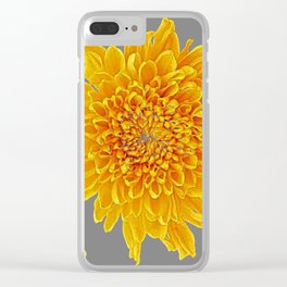 Golden Yellow Chrysanthemums grey color Art Design Clear iPhone Case
