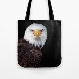 White Head Eagle with black background Tote Bag