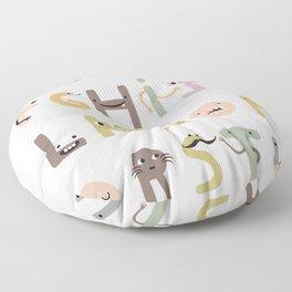 ABC The Monster Alphabet - neutral tones Floor Pillow