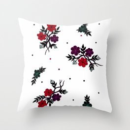Red and Purple Flowers in Design Throw Pillow