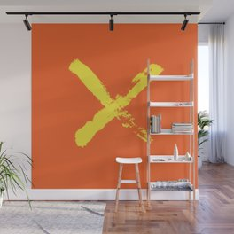 Stop sign illustrated by yellow brush strokes on orange background. Print. Wall Mural
