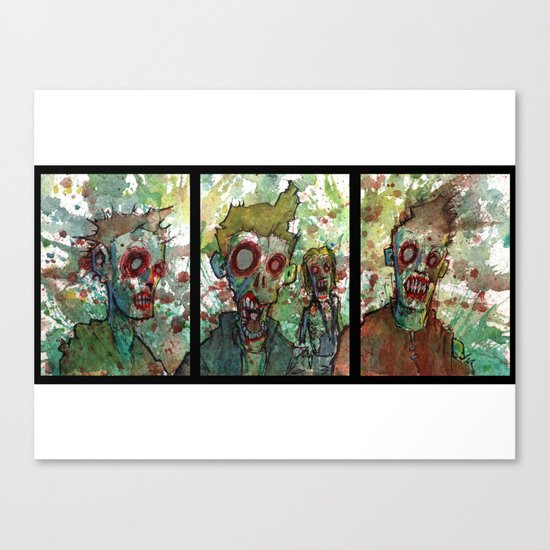 zombie triptych Canvas Print