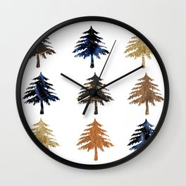 Navy moonlight Christmas trees Wall Clock