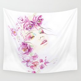 Girl with Flower Crown Watercolor lavender pink peonies Wall Tapestry