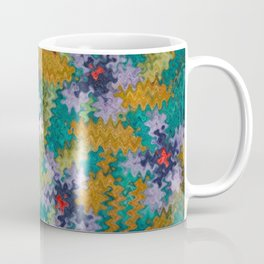 Starry Floral Felted Wool, Turquoise and Pink Coffee Mug
