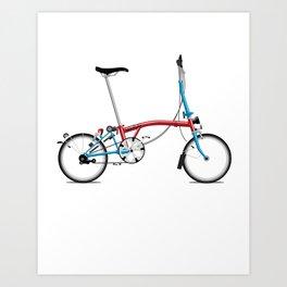Folding London Brompton Bicycle Art Print