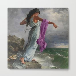 Death of the Tenth Muse Poetess Sappho at Leucadian cliffs by Miguel Carbonell Selva Metal Print