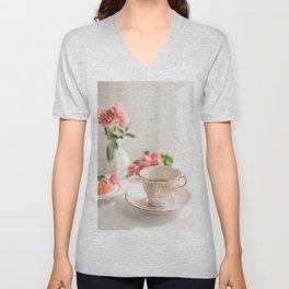 Pink Tea Cup Unisex V-Neck