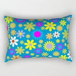 Tropical Flowers, Petals - Pink Green Blue Yellow Rectangular Pillow