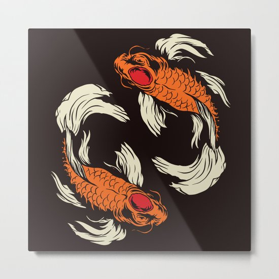 Two koi metal print by thomcat23 society6 for Koi fish metal art