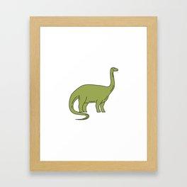 Brontosaurus Mono Line Framed Art Print