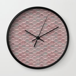 Shiny Shimmering Pink Mermaid Scale Pattern Wall Clock