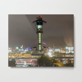 LAX Airport Control Tower and Theme Building at night Metal Print