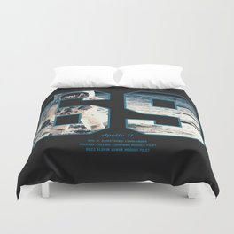 Apollo Mission 1969 First MAn on the Moon Art print Duvet Cover