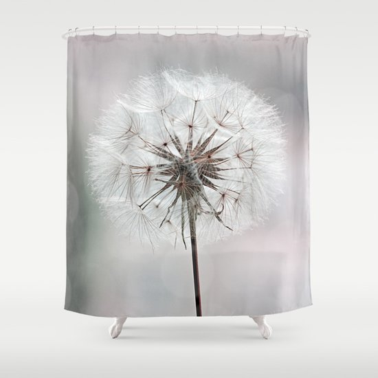 delicate dandelion flower in soft light shower curtain by