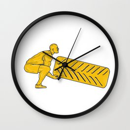 Fitness Athlete Squatting Lifting Tire Drawing Wall Clock