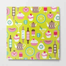 Lime cocktail party and candy kitchen food print Metal Print