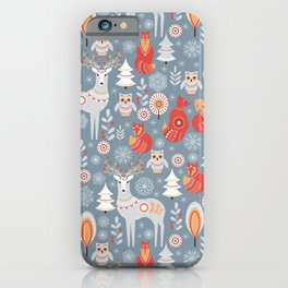 Fairy forest, deer, owls, foxes. Decorative pattern in Scandinavian style. Folk art. iPhone Case