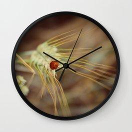 Ladybug on wheat Wall Clock