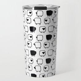 Black and white sheeps Travel Mug