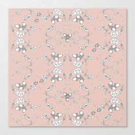 Acorns and ladybugs pink pattern Canvas Print