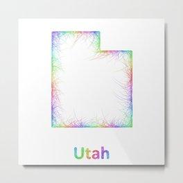 Rainbow Utah map Metal Print