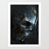dishonored Art Prints featuring Corvo´s Mask  Dishonored by Alba Palacio