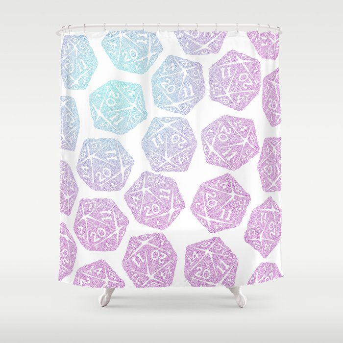 d20 pattern dice gradient pastel Shower Curtain