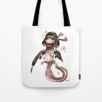 bouletcorp Tote Bags featuring Axolotl Barbare by Bouletcorp
