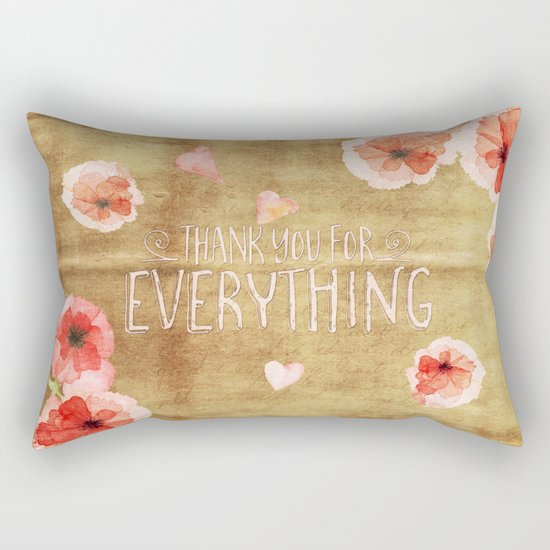 Thank you for everything- Vintage  Flowers Roses floral Illustration Rectangular Pillow
