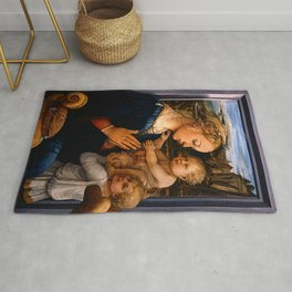 """Fra Filippo Lippi """"Madonna with child and two Angels"""" Rug"""