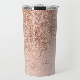 Girly blush coral faux rose gold glitter marble Travel Mug