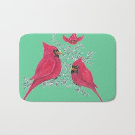 Three Cardinals And Berries Bath Mat