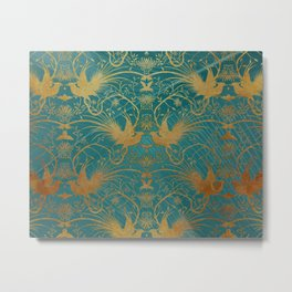 """""""Turquoise and Gold Paradise Birds"""" Metal Print"""