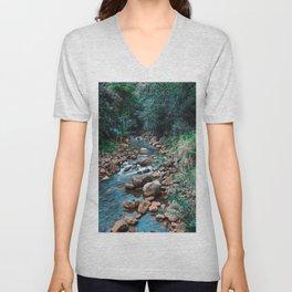 Flowing Botanical Garden Creek Portrait Unisex V-Neck