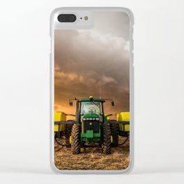 Farm Life - Tractor and Storm in Kansas Clear iPhone Case