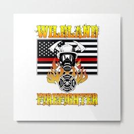 Wildland Firefighter Hero Thin Red Line Smokejumper Gift Metal Print