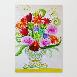 bouquet in ethnic style vase Canvas Print