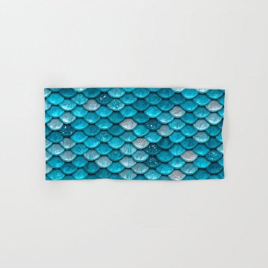 Luxury turquoise mermaid sparkling glitter scales - Mermaidscales Hand & Bath Towel