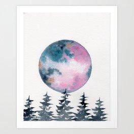 Watercolor Unicorn Moon Art Print